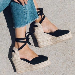 SOLUDOS Linen Wedge Lace Up Espadrille